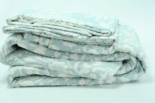 Laura Ashley Rowland Blue Quilt Set King Pillow Shams Light Grey White Bedding