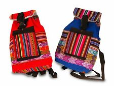 #600 12 Lot Children Woven Cotton Back Pack Wholesale Assorted Peru Fair Trade