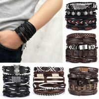 5/6pcs Fashion Mens Punk Leather Wrap Braided Wristband Cuff Bangle Bracelet New