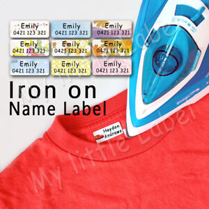 Mixed pattern Personalised Iron on /sew on Label Clothing Name Labels 30x13mm