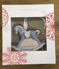 New Wedgwood Blue Jaspeware Baby 1St First Christmas Rocking Horse Ornament 2016