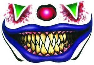 Evil Clown Temporary Face Tattoo Costume Accessory Halloween Adult Make-up