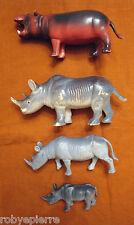 Lotto 4 animali in plastica vintage 3 rinoceronti rinoceronte 1 ippopotamo