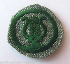 Rare 1933-1938 Girl Scout MUSICIAN BADGE Music Harp Lyre Patch Grey-Green