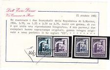 SAN MARINO 1934 PALAZZETTI SOPRASTAMPATI 2 VAL.GOMMA INTEGRA LUSSO CERT DIENA