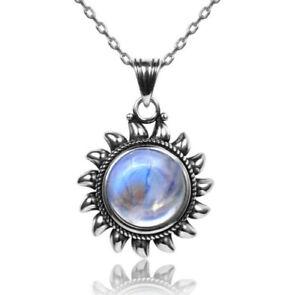 Vintage 925 Chain Natural Rainbow Moonstone & Lapis Lazuli Pendant Necklace !!