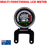 Black Digital Motorcycle 12V Universal LED LCD Odometer Speedometer fuel gauge