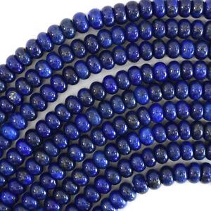 "Blue Lapis Lazuli Rondelle Button Beads Gemstone 15"" Strand 5mm 7mm 8mm 10mm"
