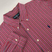Mens Polo Ralph Lauren Custom Fit Red Striped Oxford Golf Dress Shirt Size Large