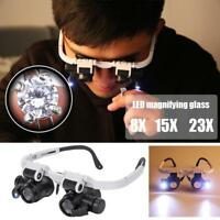 8/23X LED Headband Magnifier Magnifying Jewelry Watch Repair Eye Loupe Glasses