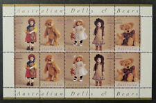 MINT 1997 DOLLS AND BEARS STAMP SHEETLET OF 10  MUH