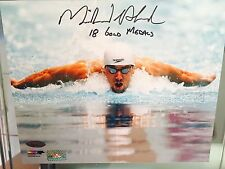 MICHAEL PHELPS Signed Autograph 8x10 Photo Inscribe 18 Gold Medals TRI STAR COA