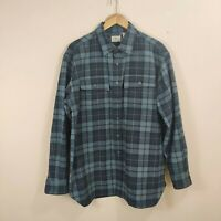 LL BEAN Flannel Heavy Cotton Button Up Shirt Mens Large Blue Plaid Long Sleeve