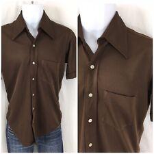 Vintage 70s Shirt Lancer California No Iron Brown Sharp Collar DISCO SM Slim Fit