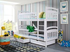 Kinderbett Etagenbett Hochbett Kinder Bett Holz 2 Betten Stockbett 90x200 Weiss