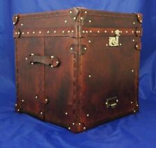 Vintage English handmade leather occasional side table antique Trunk chests Gift