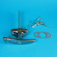 FREE P&P* Chrome T Handle Door Lock & 2 Keys for Horse Box & Caravans & Trailers