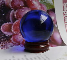 40MM +Stand Natural Blue Obsidian Sphere Large Crystal Ball Healing Stone