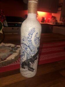 Beautiful Cat Decoupage Unique Bottle /handmade/shabbychi /gift