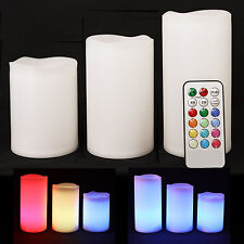 3 Weatherproof Outdoor and Indoor Colour Changing Candles-Remote Control & Timer