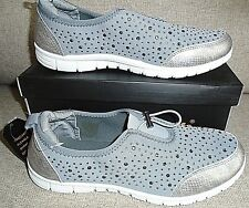 CUSHION WALK LADIES SPARKLE SLIP ON TRAINERS IN GREY/WHITE UK 8 BRAND NEW
