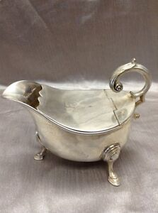 Vintage 412g Silver Plated Gravy / Sauce Boat Unknown Maker!