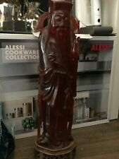 More details for antique chinese republic carved cherry amber bakelite lu xing art statue 2105g