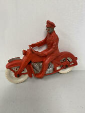 VINTAGE RED AUBURN RUBBER POLICE MOTORCYCLE & RIDER, WHITE TIRES