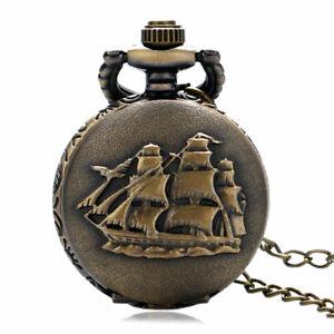 Steampunk Retro SailBoat/Warship/Pirate Ship Quartz Pocket Watch Chain Necklace