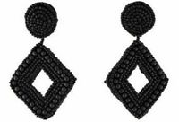 KENNETH JAY LANE Large Black Beaded Drop Pierced Earrings NWT