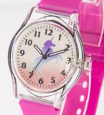 Kinderuhr Einhorn-Motiv Mädchenuhr pink transparent Lernuhr Armbanduhr Mädchen