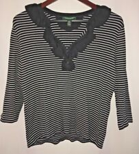 LRL Ralph Lauren Women's Junior XL Black Stripe Cotton Knit Top Sweater Ruffles