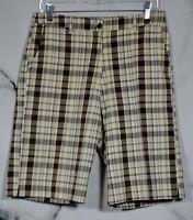 RAVIYA Brown Tan Blue Metallic Plaid Shorts 10 4 Pockets Stretch Polyester Blend