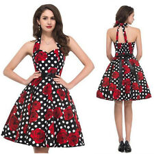 Womens 1950s 60s Vintage Rockabilly Swing Dress Retro Floral Cocktail Party Ball