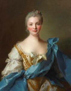 Jean Marc Nattier Madame de La Porte Poster Reproduction Giclee Canvas Print