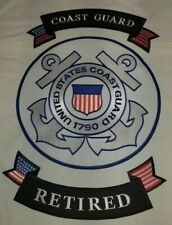 """""""Us Coast Guard"""" """"Retired"""" 12"""" Center Back Patch With Rockers 3 Piece Set"""