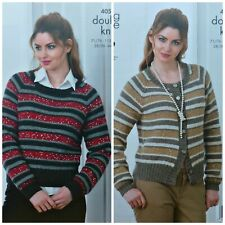 KNITTING PATTERN Ladies Long Sleeve Sequined Striped Jumper DK & Cosmos KC 4054