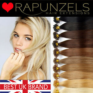 "1 gram U tip/nail tip 100% human hair extensions 20"" pre bonded silky RAPUNZELS"