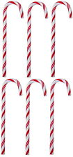 6 RED/WHITE CANDY CANE & HANGING CORD CHRISTMAS ORNAMENT TREE DECORATIONS 12,5cm