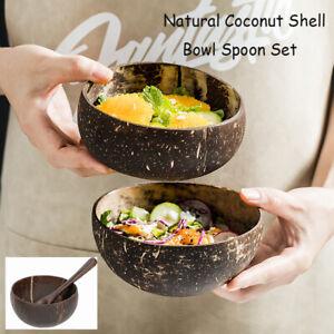Wooden Bowl Spoon Set Coconut Shell Fruit Salad Noodle Rice Bowls Tableware