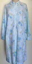 Miss Elaine Women Blue Floral Zip Front Polyester Rayon Sleepwear Robes Sz L NWT