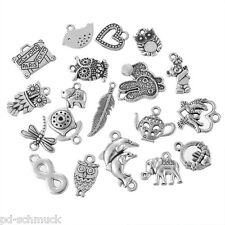 PD: 20 Mix Charms Anhänger Eule Herz Motive für Halskette Armband Konvolut #6