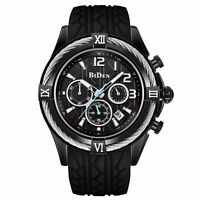 Sport Watch Men Black Face Silicone Band Date Quartz Analog Amry Wrist Watches