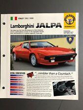 """1982 - 1988 Lamborghini Jalpa Coupe IMP """"Hot Cars"""" Spec Sheet Folder Brochure"""