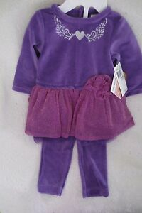 Baby Girl Velour Outfit 2 Pieces Set  Size 6 Months Purple Baby Essentials New