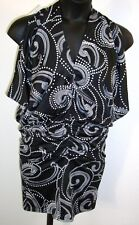 Navy/White Sleeveless V-Neck Dress/Beach cover-up Fabric Ruched Hip Style Sz M