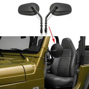 Door Hinge Mirrors For 1997-2018 Jeep Wrangler TJ JK YJ Side Mirror Matte Black