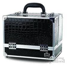 Black Faux Snakeskin Train Case Makeup Storage Case w/ 6 Folding Trays