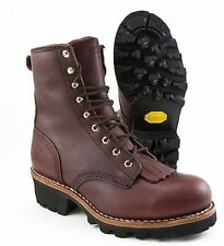 Chippewa Boots Redwood Steel Toe 8in Brown Leather Logger 73031 Work Safety Wide