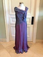 Tadashi Collection Blue and Pink Womens Evening Gown 100% Silk Size 12